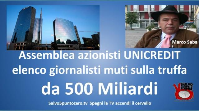 Assemblea azionisti Unicredit 13 maggio 2015. Elenco giornalisti MUTI sulla truffa da 500 MILIARDI. Con Marco Saba. 12/06/2015
