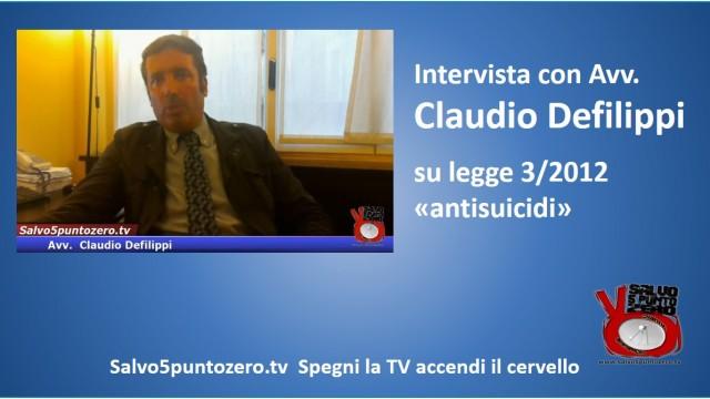 Intervista con l'Avv. Claudio Defilippi sulla legge 3/2012 'antisuicidi'. 16/06/2015
