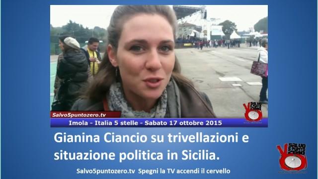Gianina Ciancio su trivellazioni e situazione politica in Sicilia. #imola #italia5stelle.17/10/2015