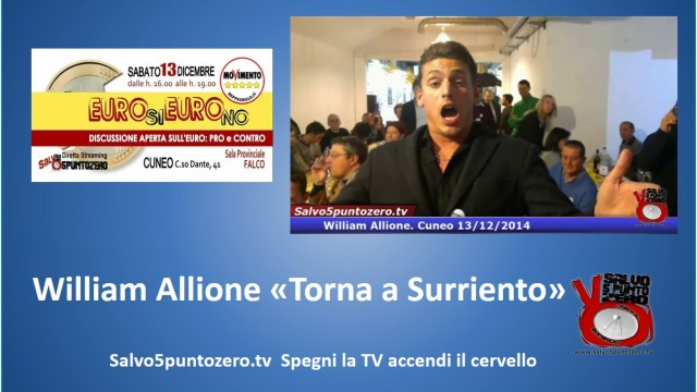 Cuneo, Euro Si Euro No. 13/12/2014. Performance canora di William Allione