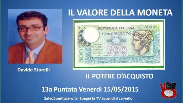 Il valore della moneta di Davide Storelli. 13 Puntata. Il Potere d'acquisto. 15/05/2015.